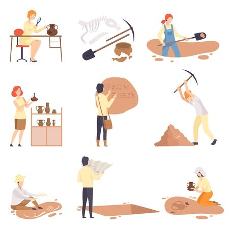 Archaeologists Excavating and Researching Historical Artifacts Set, Paleontology Scientists Characters Flat Vector Illustration