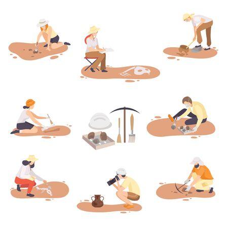 Archéologues excavant, recherchant et photographiant l'ensemble d'artefacts historiques, les scientifiques de paléontologie personnages plat Vector Illustration