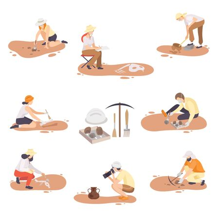 Archaeologists Excavating, Researching and Photographing Historical Artifacts Set, Paleontology Scientists Characters Flat Vector Illustration