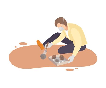 Male Archaeologist Sitting on Ground and Sweeping Dirt from Stones Using Brush, Paleontology Scientist Character Working on Excavations with Historical Artifacts Flat Vector Illustration Illustration