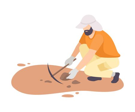 Male Archaeologist Scientist Character Working on Excavations with Pickaxe Flat Vector Illustration