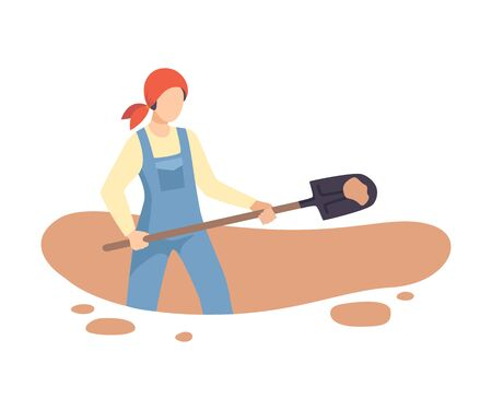 Female Archaeologist Digging Soil with Shovel, Scientist Working on Excavations Flat Vector Illustration
