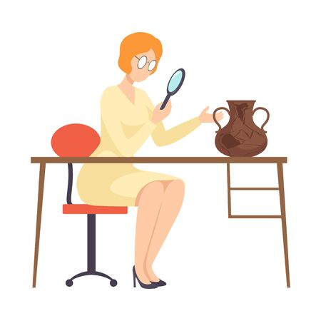 Female Archaeologist Researching Ancient Amphora with Magnifier, Scientist Character Working on Excavations with Historical Artifacts Flat Vector Illustration Foto de archivo - 131188646