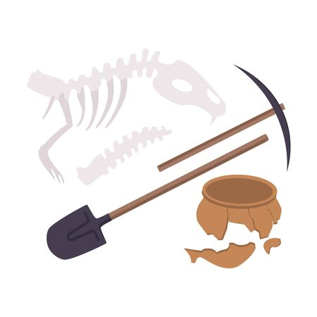 Archaeological Excavation Tools and Prehistoric Fossils, Pickaxe, Shove, Animal Skeleton, Ceramic Crocks Flat Vector Illustration