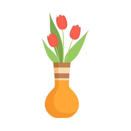 Beautiful Red Tulip Flowers in Ceramic Vase, Bouquet of Blooming Flowers for Interior Decoration Vector Illustration