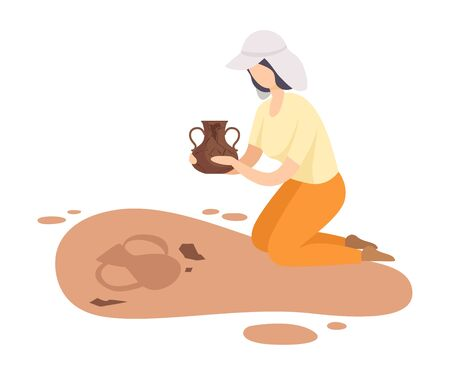 Female Archaeologist Kneeling and Holding Ancient Amphora, Scientist Character Working on Excavations with Historical Artifacts Flat Vector Illustration