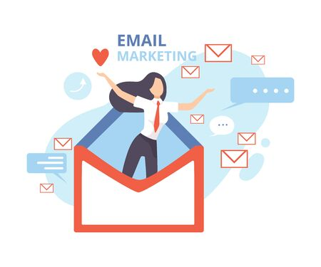 Email Marketing, Advertising Campaign, Contern eaching Target Audience with Emails Flat Vector Illustration