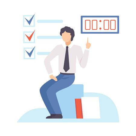 Businessman Planning, Organizing and Controlling Working Time, Efficient Time Management Business Concept Flat Vector Illustration Çizim