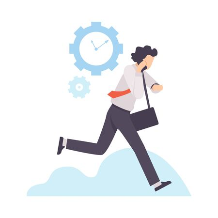 Businessman Running to Work With Briefcase, Organization and Control of Working Time, Efficient Time Management Business Concept Flat Vector Illustration Vecteurs