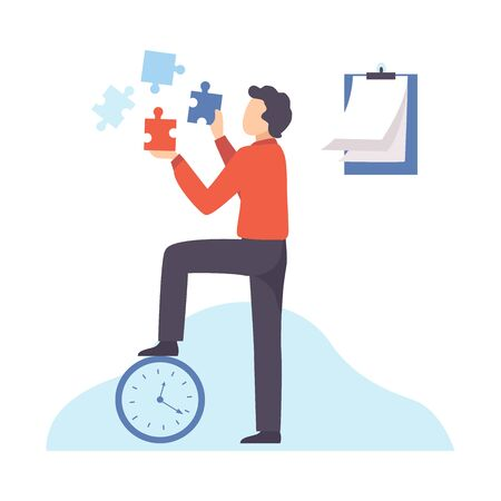 Businessman Connecting Puzzle Elements, Organization and Control of Working Time, Efficient Time Management Business Concept Flat Vector Illustration on White Background.