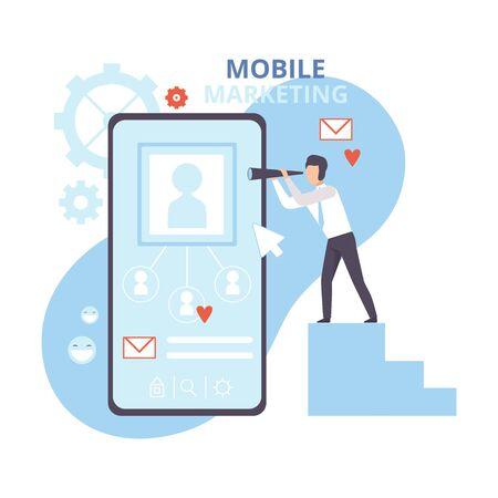 Mobile Marketing and Personalizing, Internet Advertising, Promotion, Business Software Flat Vector Illustration Illustration