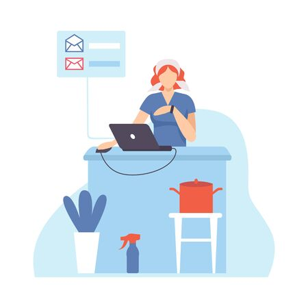 Young Woman Organizing and Controlling Her Working Time, Housewife Working at Home with Laptop, Efficient Time Management Flat Vector Illustration