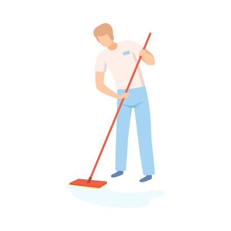 Male Professional Cleaner Mopping the Floor, Cleaning Company Staff Character Dressed in Uniform with Equipment Flat Vector Illustration on White Background.