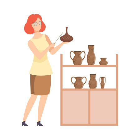 Scientist Archaeologist Examining Ancient Vessels, Tour Guide Giving Excursion at Museum Flat Vector Illustration