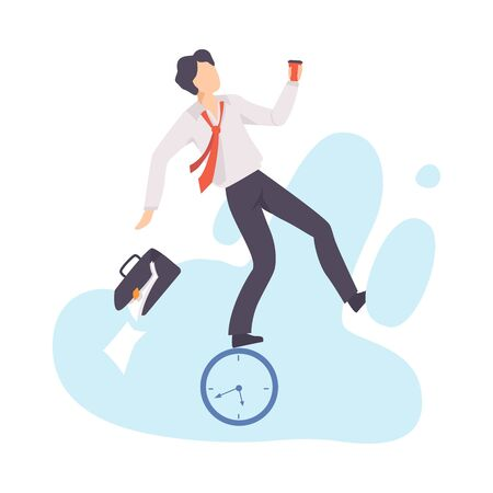 Stressed Overworked Businessman, Organization and Control of Working Time, Deadline and Time Management Business Concept Flat Vector Illustration Banque d'images - 131188884