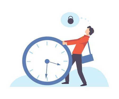 Businessman Carrying Heavy Big lock, Organization and Control of Working Time, Time Management Business Concept Flat Vector Illustration
