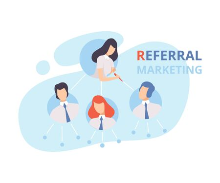 Referral Marketing, Program Strategy, Customer Database, Refer a Friend, Business Partnership, Blogging Promotion Services Flat Vector Illustration