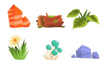 Nature Forest Landscape Elements Set, Green Plants, Stones, Log, Flower, Mushrooms Vector Illustration
