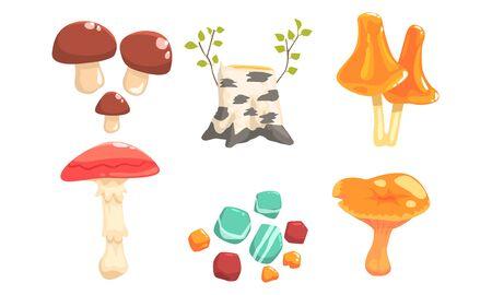 Nature Forest Landscape Elements Set, Plants, Stones, Birch Stump, Mushrooms Vector Illustration
