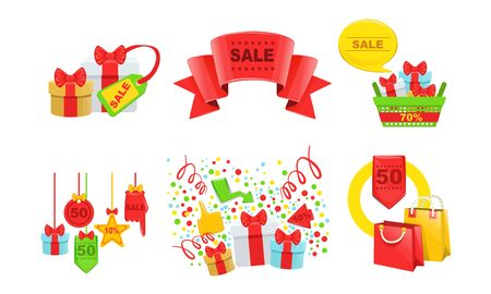 Sale, Special Offer Signs Collection, Tags, Shopping Bags, Gift Boxes Vector Illustration