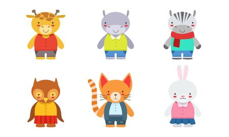 Cute Baby Animals Set, Giraffe, Hippo, Zebra, Owlet, Kitten, Bunny Vector Illustration
