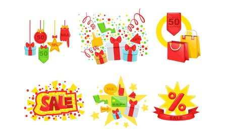 Sale, Special Offer Signs Collection, Tags, Shopping Bags, Gift Boxes, Season Store Promotion Vector Illustration Illustration