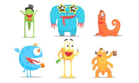 Cute Cartoon Monsters Characters Set, Funny Party Design Elements Vector Illustration Illustration