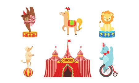 Circus Performers Characters Set, Marquee, Circus Animals, Lion, Bear, Horse, Poodle Dog, Elephant Vector Illustration