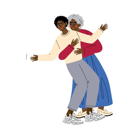 Old Mother with Adult Son, Elderly Woman Hugging Young Man, Happy African American Family Concept Vector Illustration on White Background.