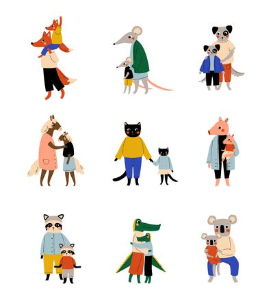 Animals and Their Kids Set, Loving Parents with Adorable Children Humanized Characters Vector Illustration