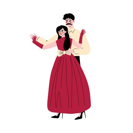 Father and His Beautiful Adult Daughter, Girl Dancing with Her Dad, Happy Family Concept Vector Illustration Ilustrace