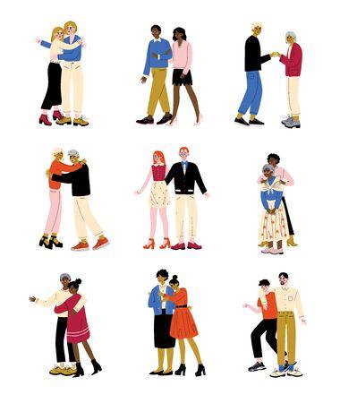 Ensemble de parents et d'enfants adultes, mère âgée et père étreignant leurs fils et filles, illustration vectorielle de concept de famille heureuse Vecteurs