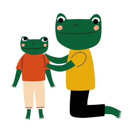 Father Frog and his Kid, Loving Parent Animal and Adorable Child Humanized Characters Vector Illustration
