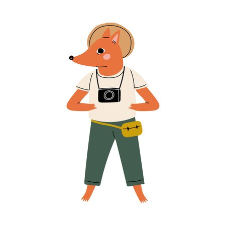 Cute Fox Tourist Standing with Camera, Funny Humanized Animal Cartoon Character on Vacation Vector Illustration on White Background. Vetores