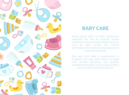 Baby Care Banner Template with Newborn Accessories and Place for Text Vector Illustration