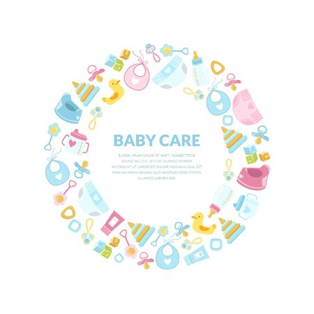 Baby Care Banner Template, Round Frame with Newborn Accessories and Place for Text Vector Illustration 일러스트