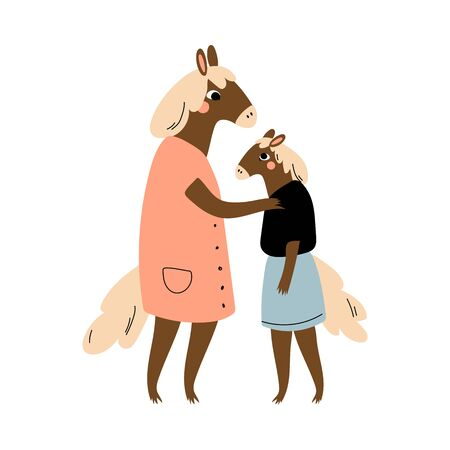 Mother Horse and her Daughter, Loving Parent Animal and Adorable Child Humanized Characters Vector Illustration on White Background.