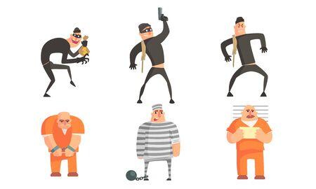 Conjunto de caracteres de criminales y prisioneros, ladrones enmascarados que cometen robo o hurto, prisioneros en uniforme ilustración vectorial sobre fondo blanco.