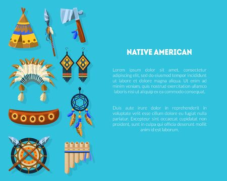 Native American Banner Template with Ethnic Indian Symbols, Teepee, Headdress, Earrings and Space for Text Vector Illustration