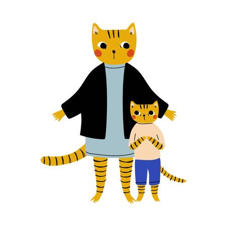 Mother Tiger and her Kid, Loving Parent Animal and Adorable Child Humanized Characters Vector Illustration on White Background. Illusztráció