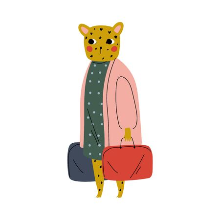Cute Female Tiger Tourist with Suitcases, Funny Humanized Animal Cartoon Character with Luggage Going on Vacation Vector Illustration on White Background.
