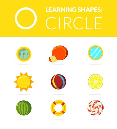 Learning Shapes, Circle Educational Game for Kids Vector Illustration