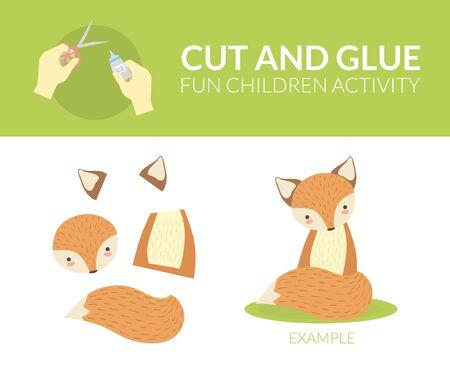Couper et coller du papier jeu éducatif pour les enfants d'âge préscolaire, Fox Vector Illustration, Web Design. Vecteurs