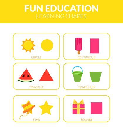 Learning Shapes, Fun Educational Game for Kids Vector Illustration Illusztráció