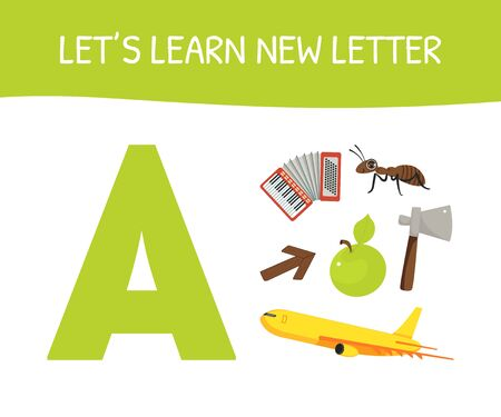 Lets Learn New Letter A, Educational Game for Preschool Kids, Accordion, Ant, Arrow, Apple, Axe, Airplane Vector Illustration Stock Illustratie