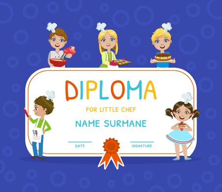 Little Chef Diploma, Kids Cooking Class Certificate Vector Illustration Illustration