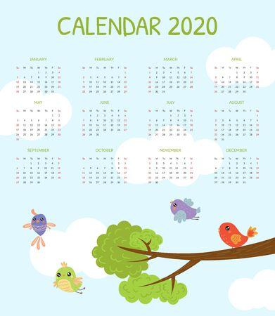 Calendar 2020, Monthly Calendar with Cute Colorful Birds Vector Illustration
