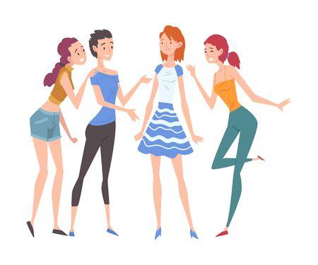 Belle ragazze vestite in vestiti alla moda in piedi e parlano tra loro, gruppo di amiche, illustrazione vettoriale di amicizia femminile su priorità bassa bianca.