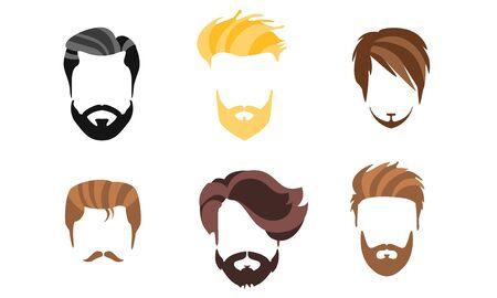 Différentes coiffures masculines, types de coupes de cheveux, illustration vectorielle de Hipster Man Style Vecteurs
