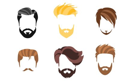 Different Male Hairstyles, Types of Haircuts, Hipster Man Style Vector Illustration Illustration
